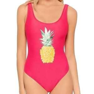 Other - Coral High Legged Pineapple Graphic Tank Swimsuit